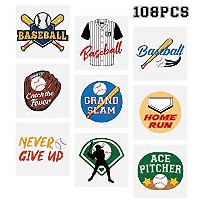 Baseball Temporary Tattoos Stickers– Kids Party Favors School Carnival Prize Sports Gifts Supplies 108Ct: Toys & Games