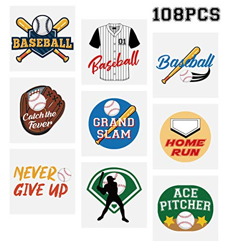 Baseball Temporary Tattoos Stickers- Kids Party Favors School Carnival Prize Sports Gifts Supplies 108Ct