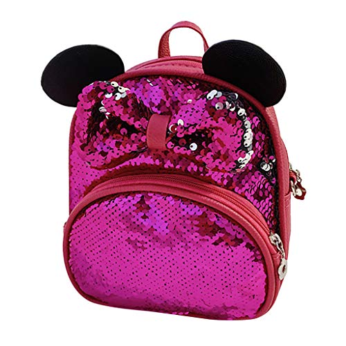 Huarll Flip Sequin Cartoon Animal Cute School Backpack for Kids Teen Daypack Glitter Sparkly Bookbag for Kindergarten (Hot Pink,Free Size)
