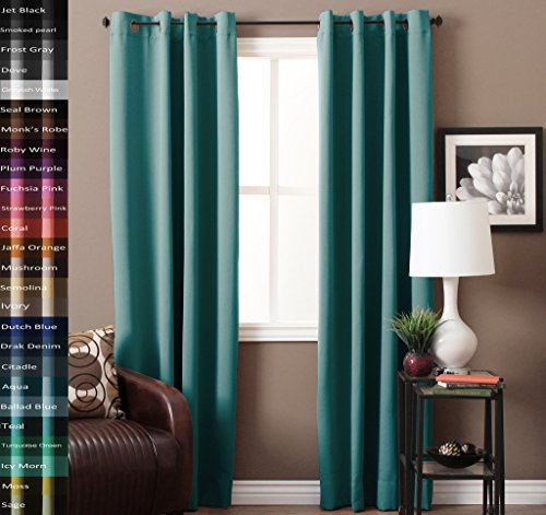 TURQUOIZE Pair(2 Panels) Solid Blackout Drapes, Aqua, Themal Insulated, Grommet/Eyelet Top, Nursery & Infant Care Curtains Each Panel (Grommet Aqua Curtains)