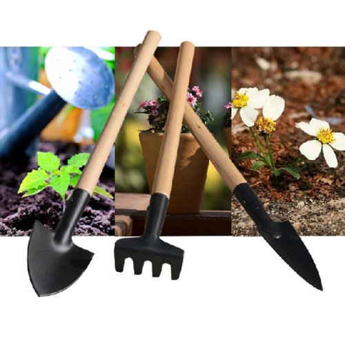 6 Pieces 2 packs Wooden Iron Mini Gardening Tools Planting