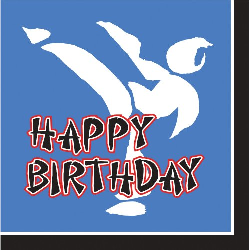 Creative Converting Black Belt Birthday Happy Birthday 16 Count 3-Ply Paper Lunch Napkins (Black Belt Birthday Invitations)
