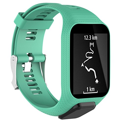 Watch Strap Aobiny Replacement Silicone Band Strap for TomTom Runner 2 / Runner 3 Sport GPS Watch (Mint Green) by Aobiny