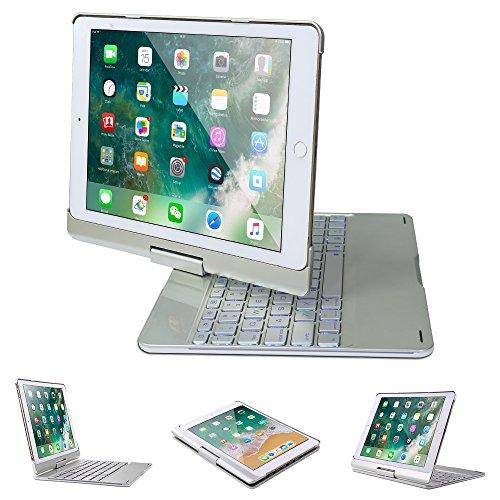 iPad Keyboard Case, NOVT 360 Degree Rotating Aluminum Wireless Bluetooth Keyboard with 7 Colors Backlit for Apple New iPad 9.7-Inch 2017&2018/iPad Pro 9.7/iPad Air 2/Air Smart Auto Wake/Sleep (Silver) ()