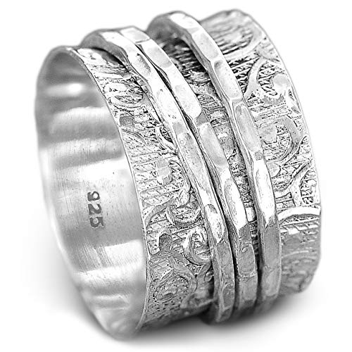 - Boho-Magic 925 Sterling Silver Spinner Ring for Women | 3 Spinning Rings Bands | Fidget Meditation Anxiety | Wide Statement Chunky Jewelry Size 7-9 (8)