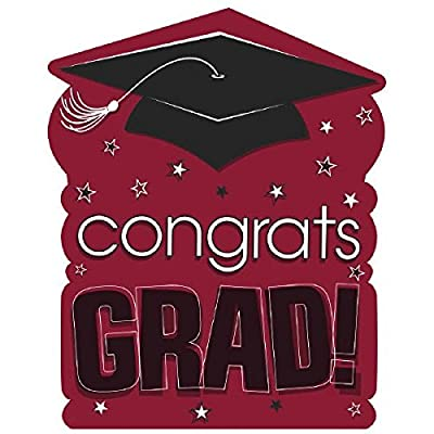 "amscan ""Congrats Grad! Graduation Party Large Cutout Decoration, Burgundy/Black, 10 1/2"" x 14"": Toys & Games"