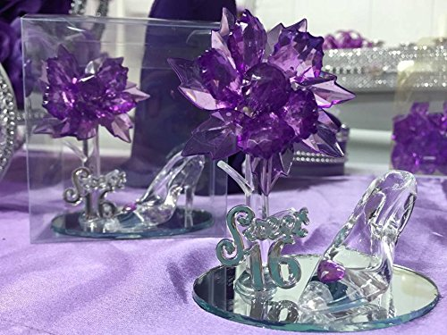 Sweet 16 Purple Acrylic Flower with High Heel Shoe Favor (Sweet 16 Purple Decorations)