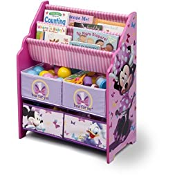Book and Toy Organizer, Disney Book and Toy Organizer, Kids Book Organizer, Book Rack and Toy Bin, Fabric Storage Bin Bookcase Storage Chest Featuring Minnie Mouse