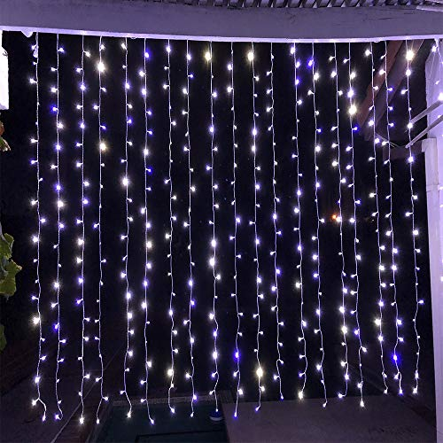 Alion Home Curtain Lights 2-in-1 Dual Color 400-Count LED String Light Wedding Party Outdoor Indoor Decorations - 10 ft W × 6 ft H (2, Cool White & Blue)