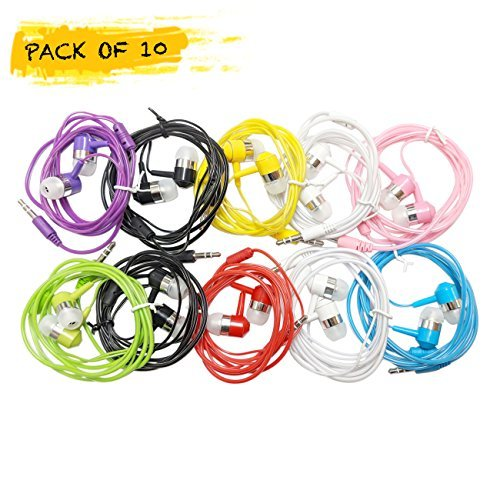 Life.Idea 3.5mm Color Earphones - Package of 10 Pairs, 8 Different Colors, Metal Like Earbuds, Cool and Stylish, Wholesale Bundle, Wide Compatibility (8 Colors/10 pcs) by LifeIdea