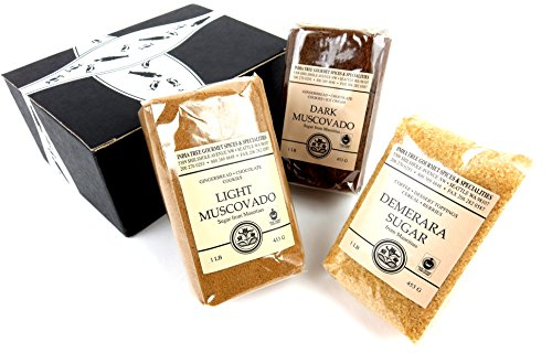 INDIA TREE Gourmet Sugars 3-Flavor Variety: One 1 lb Bag Each of Demerara, Light Muscovado, and Dark Muscovado in a BlackTie Box (3 Items Total)