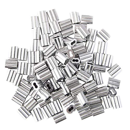 (100 Packs Aluminum Wire Rope Crimp Loop Sleeve - Fits 5mm 3/16 in Wire Rope & Steel Cable - Wire Rope Sleeve, Double Barrel Crimp Sleeve, 3/16