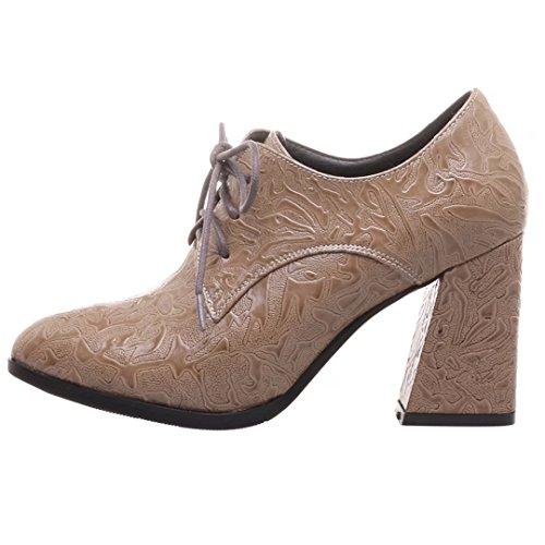 AIYOUMEI Damen Blockabsatz Pumps mit Schnürung und 8cm Absatz High Heels Schuhe kNdcz2