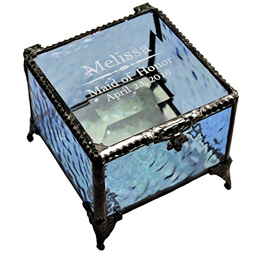 - J Devlin Box 837 EB236 Personalized Wedding Maid of Honor Keepsake Gift Engraved Blue Glass Jewelry Box Bridal Attendants