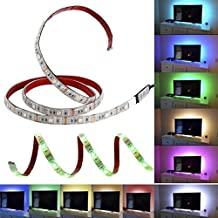 Topled Light USB LED Strip Lights,Bias Lighting 3.28ft/1M for HDTV USB LED Strip Multi Color RGB LED Neon Accent Lighting System Kit for Flat Screen TV LCD, Desktop PC(USB White Panel 3 Key)