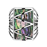 Stripe Line Zig-Zag Abalone Shell .925 Sterling Silver Ring
