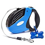 Retractable Dog Leash - Rantizon 16ft(5m) Nylon Ribbon Dog Walking Leash for Dog Up to 110lbs 50kg Heavy Duty - Tangle Free - One Button Brake & Lock Pet Lead Hand Grip - Dog Waste Bags Included