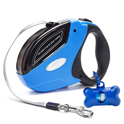 Rantizon Retractable Dog Leash, 16ft(5m) Nylon Ribbon Dog Walking Leash for Dog Up to 110lbs/50kg Heavy Duty, Tangle Free, One Button Brake & Lock Pet Lead Hand Grip, Dog Waste Bags Included
