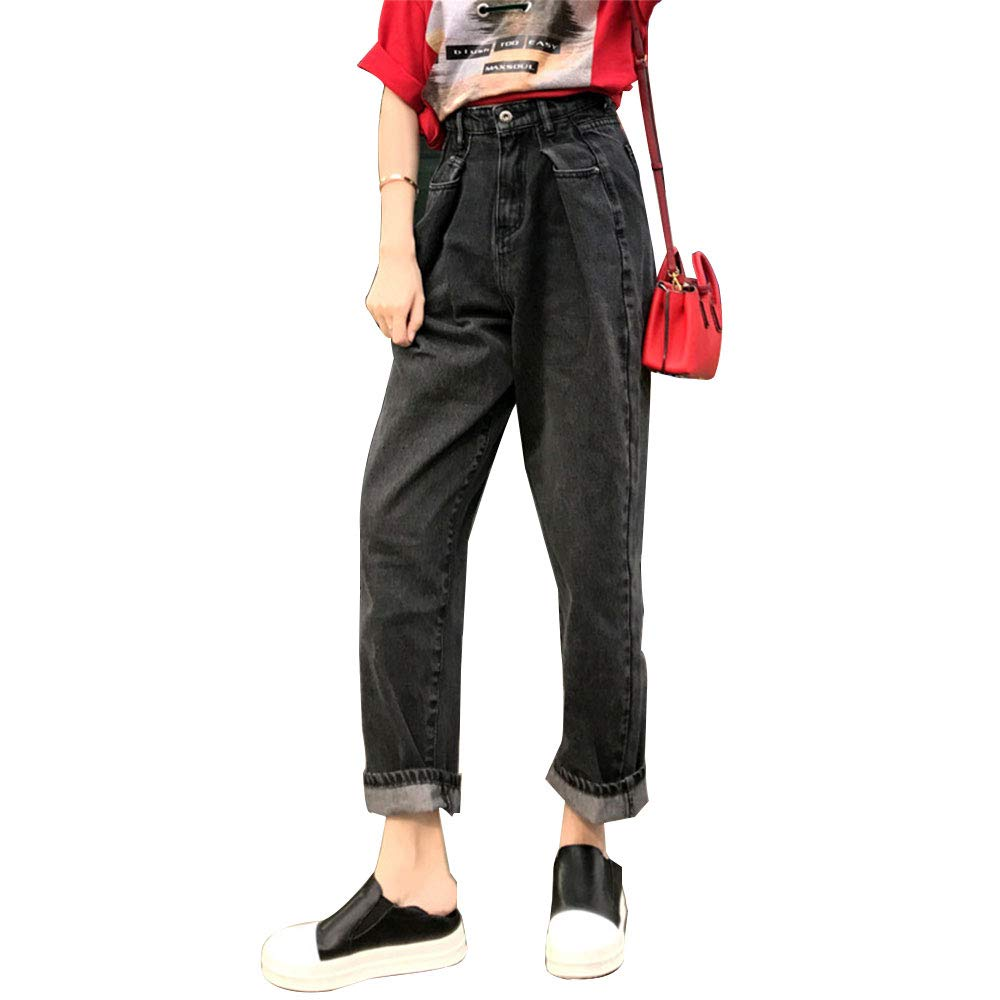 HIENAJ Womens Casual Wide Leg Palazzo Jeans High Waist Boyfriend Long Loose Denim Jean