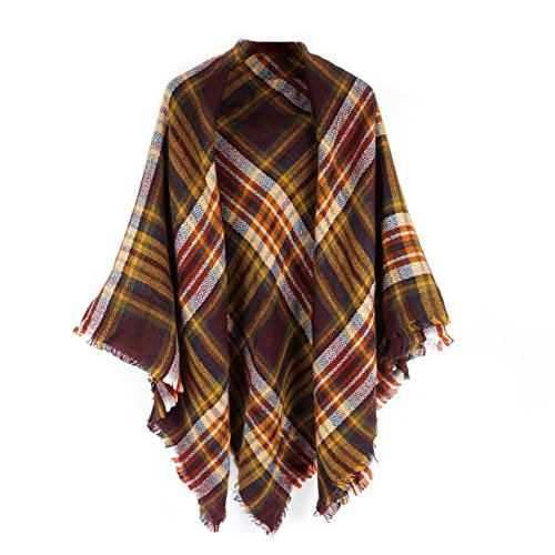 Women's Cozy Tartan Blanket Scarf Wrap Shawl Neck Stole Warm Plaid Checked Pashmina (Dark Brown)