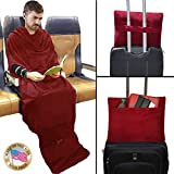 Smart Blanket The Convenient Wearable Throw Blanket - Travel, Home, Office Anywhere - Made in USA - Size: SM/MED - Color Burgundy
