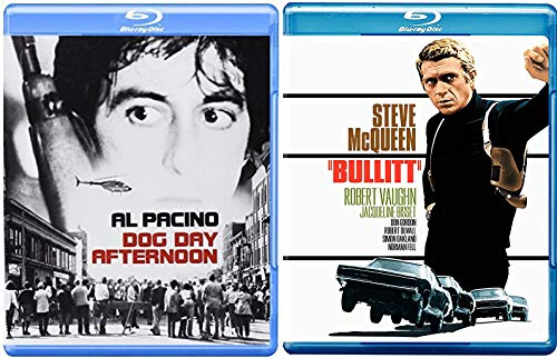 Bank Chase Drama & Action Steve Mcqueen Stars Classic DVD Movie Bullitt + Al Pacino in Dog Day Afternoon Film Double Feature Set