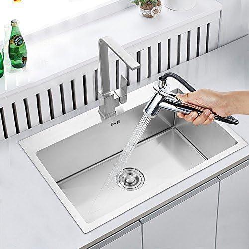 panier de vidange sans robinet HomeLava /Évier de cuisine 1 Bac 60x45cm en Acier Inoxydable 304 encastrable avec Siphon et distributeur de savon