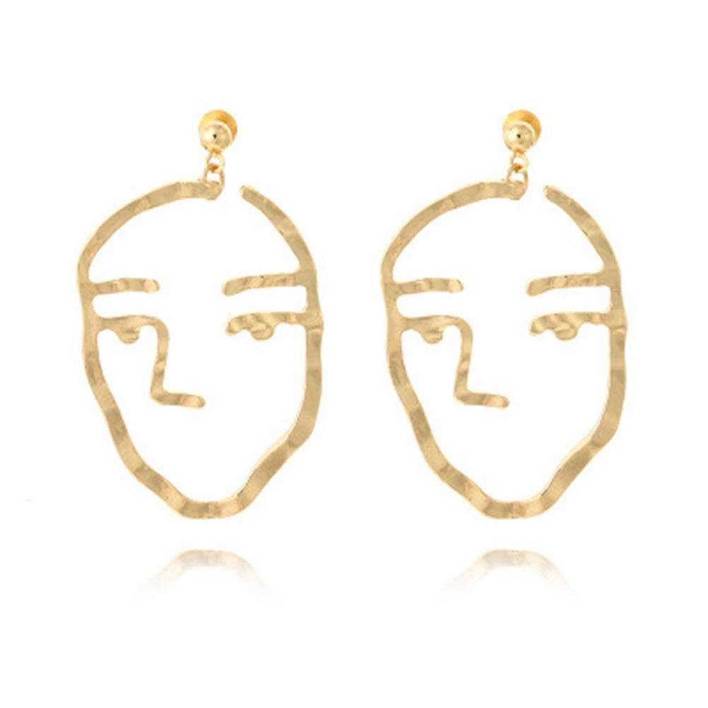 Becoler Hollow Out Earrings with Face Look Earrings Becoler Store