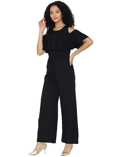 adaf3204de04 cottinfab Solid and Printed Cold-Shoulder Jumpsuit  Amazon.in ...