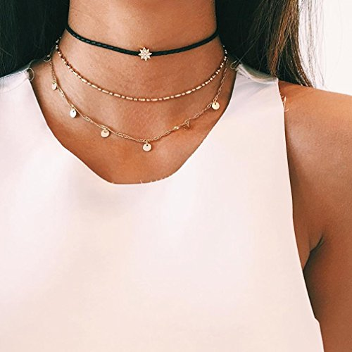 Dolland Multilayer Necklace Star Wafer Pendent Chocker Necklace Fashion Gift Chain for Women Girls