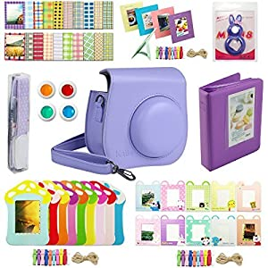 Katia Instant Camera Accessories Bundles Set for Fujifilm Instax Mini 8/8+ with Case Purple/ Photo Albums/ Close Up Lens/ Filters/ Border Stickers/ Wall Hang Frame/ Cleaning Cloth/ Pen/ Photo Holder