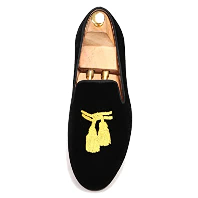 18a7809aecc81 FERUCCI Men Black Velvet Slippers Loafers Flat with Gold Embroidered Tassel  (8)