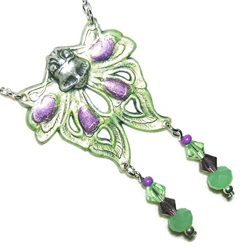 (ART NOUVEAU MOTH Necklace GREEN PURPLE Glass CRYSTAL Drops Silver)