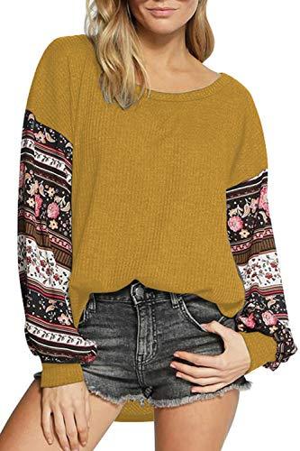 Women's Long Sleeve Waffle Knit Shirt Boat Neck Tunic Tops Blouse