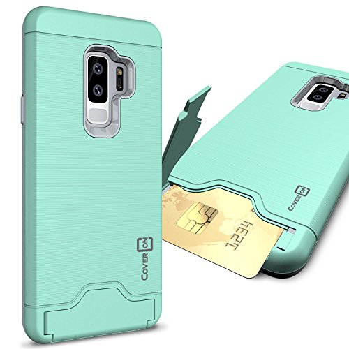 CoverON Galaxy S9 Plus Case with Card Holder, [SecureCard Series] Protective Hard Hybrid Phone Cover with Credit Card Holder Slot for Samsung Galaxy S9 Plus - Mint Teal