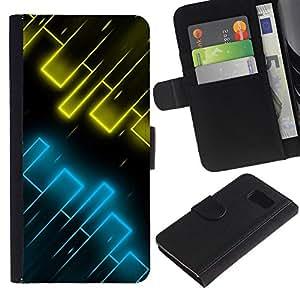 All Phone Most Case / Oferta Especial Cáscara Funda de cuero Monedero Cubierta de proteccion Caso / Wallet Case for Samsung Galaxy S6 // Yellow & Blue