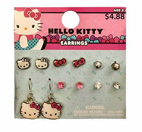Hello Kitty 6 Pairs Earrings or Hello Kitty Necklace With Earrings Set For Girls (+3 years) (6 Pairs of Earrings) (Hello Kitty Earring Set)