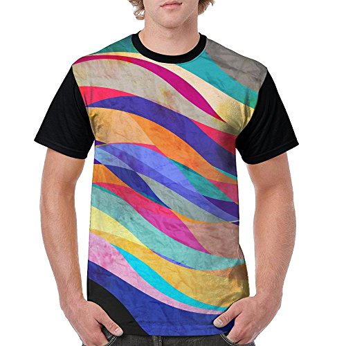 ZhiqianDF Men's Bright Watercolor Retro Abstract Background With Waves Funny Sports Black T Shirts XL Short Raglan - Family Sixers Pack