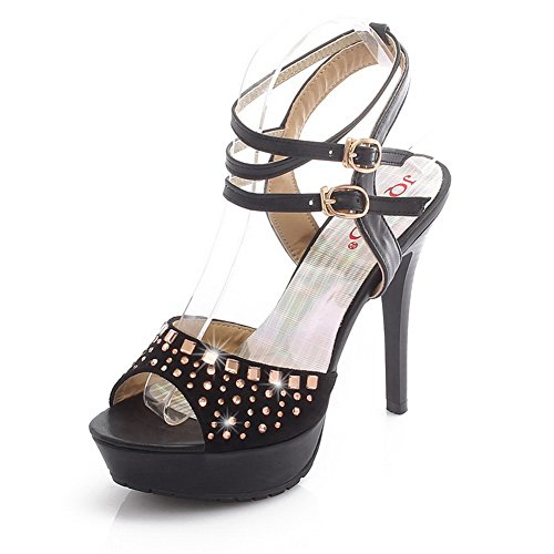 VogueZone009 Womens Open Peep Toe High Heel Stiletto Platform PU Frosted Solid Sandals with Glass Diamond, Black, 4.5 UK