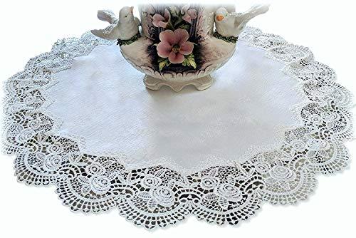 Galleria di Giovanni Large Doily Royal Rose European Lace Antique White Topper Dresser Scarf 23