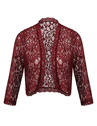 Dealwell Women's 3 4 Sleeve Bolero Shrugs Crochet Lace Open Cardigan for Dresses Plus Size (Wine Red, L)
