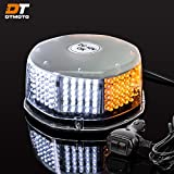 2.5' by 5.25' Low-Dome 240-LED Amber & White Emergency Strobe Beacon Light w/ 240-LEDs, 14-Patterns, Waterproof, and Magnetic Mount - Vehicle Warning Flashing Rotating Roof Safety Hazard Light