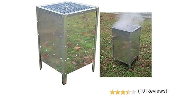 fineway @ Grande, cuadrada cubo Incinerador de jardín galvanizado 90L Burning Cubo de basura basura: Amazon.es: Jardín
