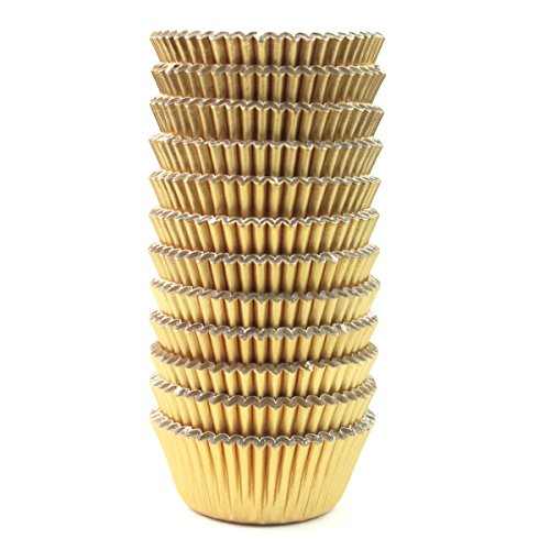Eoonfirst Mini Foil Metallic Paper Cupcake Cup Liners/Baking Cups 300 Pcs (Gold)]()