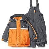 London Fog Baby 2 Piece Heavyweight Color Block Snowsuit, Orange, 12 Months