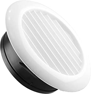Suiwotin 7'' (185mm) Air Vents, ABS Air Vent Louver Grille Cover with Built-in Fly Screen Mesh for Bathroom Office Kitchen (185mm)