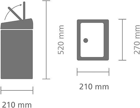Brabantia Touch Bin - Cubo de Basura Rectangular, 10 litros, Cubo Interior de plástico extraíble, Acero Mate Anti-Huella