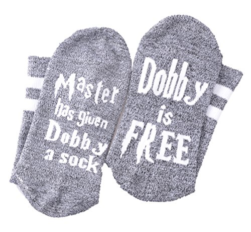 Moyel Master Has Given Dobby A Socks Dobby is Free Funny Crew Socks Gifts (Gray White, 1)