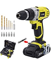 CACOOP 18V Lithium-Ion power Cordless Drill/Driver Set, With 1.5Ah Battery pack, 1 fast charger, 6 HSS wood drill bits, 6 Screwdriver bits, 1 Magnetic bit holder and 1 Belt hook(CCD20001LBB)