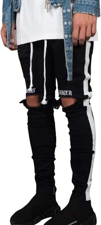 Mxssi Vaqueros Rotos Para Hombre Slim Skinny Pantalones Mezclilla Con Agujeros Hombres Bordados De Letras Casual Pantalon Mezclilla Rasgado Pantalones Largos Jeans Negro Amazon Es Ropa Y Accesorios